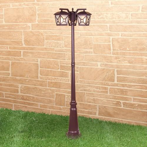 Columba F/3 коричневый уличный трехрожковый светильник на столбе IP33 GL 1022F/3