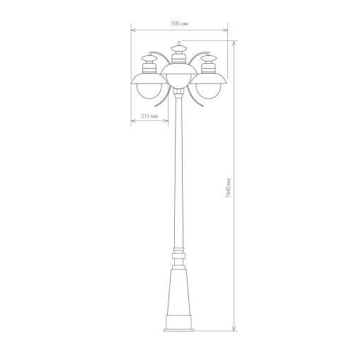 Talli F/3 черный уличный трехрожковый светильник на столбе IP44 GL 3002F/3
