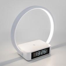 Светодиодная настольная лампа с беспроводной зарядкой и будильником 80505/1 белый