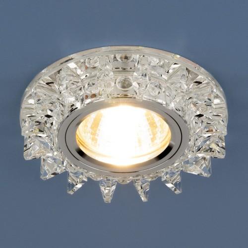 Точечный светодиодный светильник с хрусталем 6037 MR16 SL зеркальный/серебро