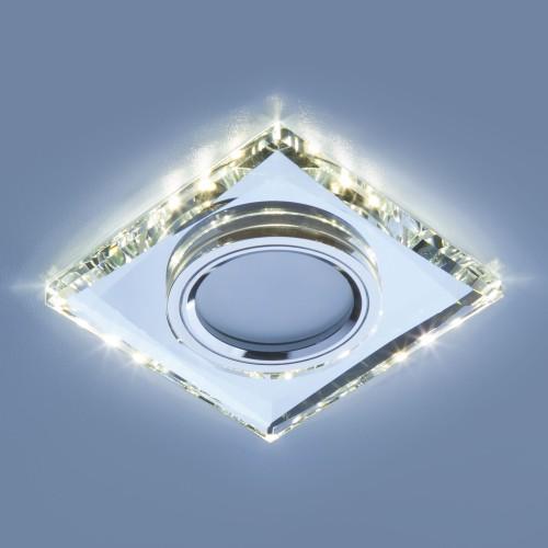 Встраиваемый потолочный светильник со светодиодной подсветкой 2230 MR16 SL зеркальный/серебро