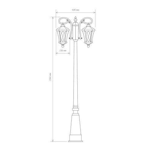 Virgo F/2 капучино уличный двухрожковый светильник на столбе IP44 GLXT-1450F/2