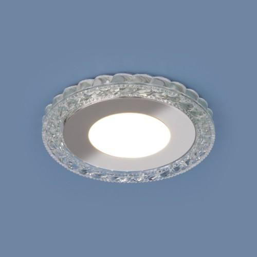 Встраиваемый светодиодный потолочный светильник с LED подсветкой 9909 LED 8W CL прозрачный