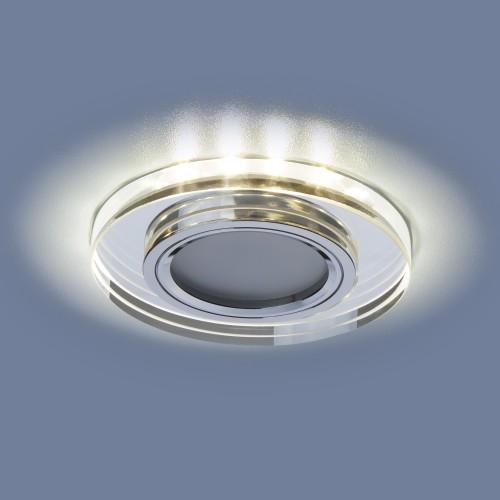 Встраиваемый потолочный светильник со светодиодной подсветкой 2227 MR16 SL зеркальный/серебро