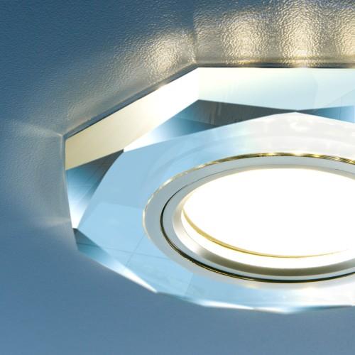 Встраиваемый потолочный светильник со светодиодной подсветкой 2226 MR16 SL зеркальный/серебро
