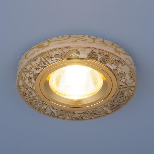 Встраиваемый точечный светильник с LED подсветкой 8096 MR16 GD золото