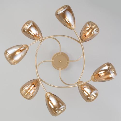 Потолочная люстра со стеклянными плафонами 30168/8 матовое золото