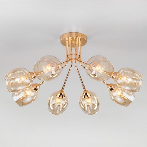 Потолочная люстра со стеклянными плафонами 30164/8 золото