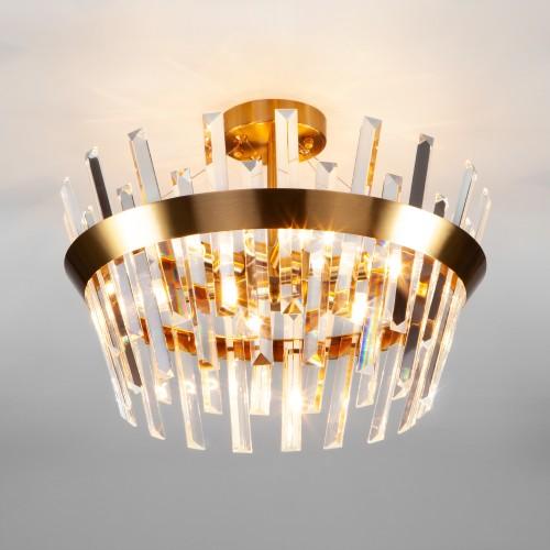 Хрустальная потолочная люстра 10111/5 золотая бронза / прозрачный хрусталь Strotskis