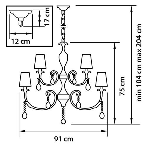 691154 (MD700001-10+5) Люстра подв CAPPA 15x40W E14 ХРОМ (в комплекте)