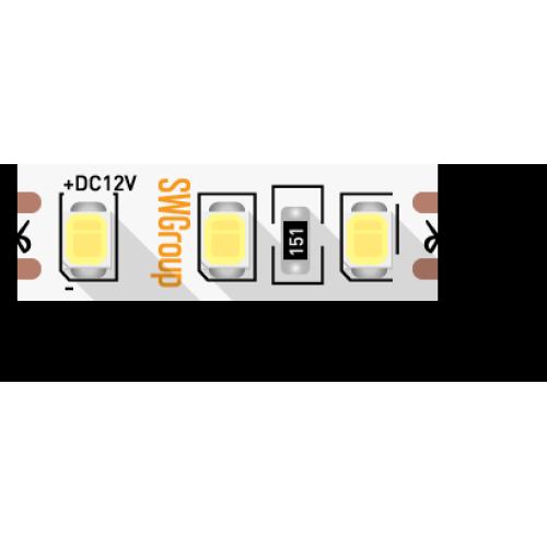 Лента светодиодная стандарт 2835, 120 LED/м, 9,6 Вт/м, 12В , IP20, Цвет: Теплый белый