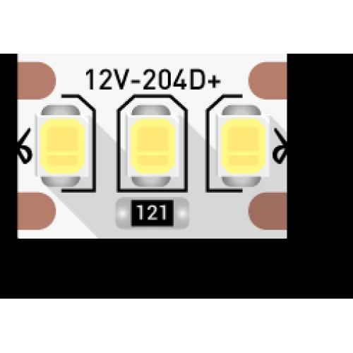 Лента светодиодная стандарт 2835, 204 LED/м, 22 Вт/м, 12В , IP20, Цвет: Теплый белый