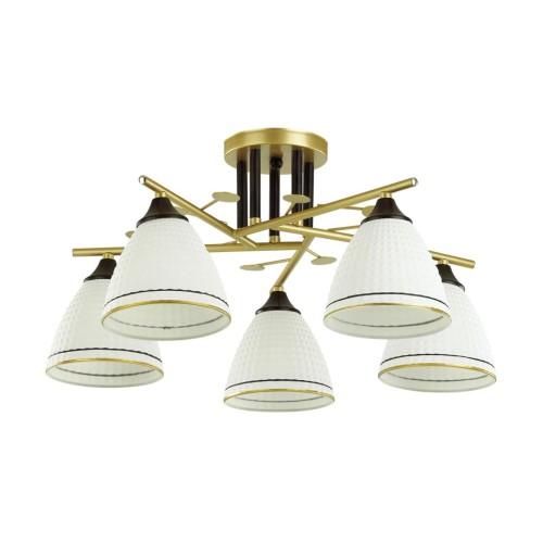 4544/5C COMFI LN21 050 матовое золото, черный, белый Люстра потолочная E27 5*60W 220V BECKY