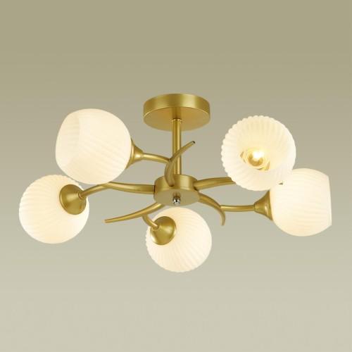 4545/5C COMFI LN21 051 матовое золото, белый Люстра потолочная E27 5*60W 220V GISELLE