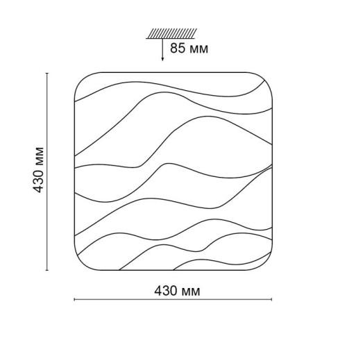 2091/DL SN 054 св-к RICON пластик LED 48Вт 3000-6000K 430*430 IP43 пульт ДУ
