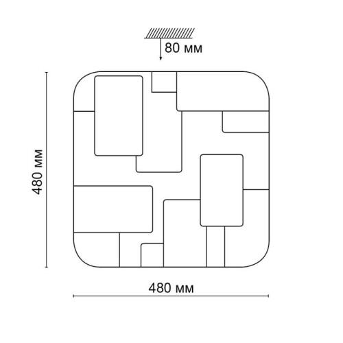 2085/EL SN 057 св-к NORES пластик LED 72Вт 3000-6000K 480х480 IP43 пульт ДУ