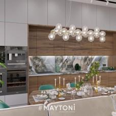 Проект кухни-гостиной площадью 50 кв. метров с участием подвесных светильников MAYTONI Nostalgia и Dallas
